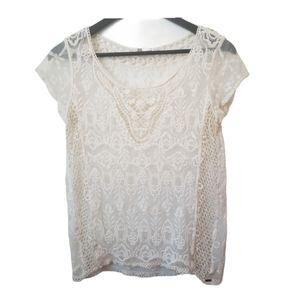⚡ Garage woman Shear lace cream cap sleeve blouse